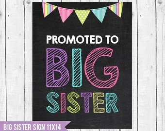 Promoted Big sister Sign 14x11 // Big Sister Chalkboard Pregnancy Announcement // Big Sister Sign // Photo Prop // Sister announcement