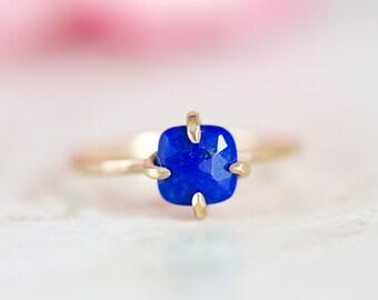 Lapis Ring, Lapis Rose Cut Ring, Lapis Prong Set, Claw Set Ring