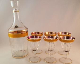 Elegant Vintage Gold Rimmed Decanter and Wine Glasses
