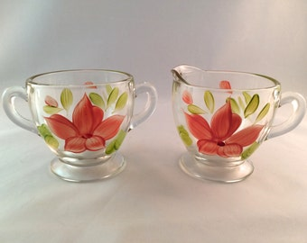 SALE - Hand Painted Glass Cream and Sugar Bowls