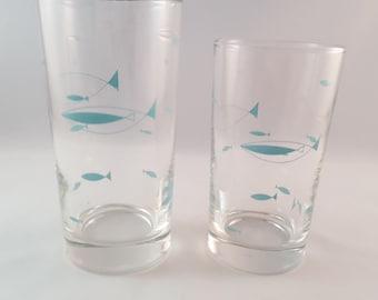 Atomic Fish Libbey Glasses - Set of 2