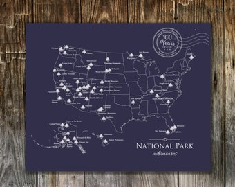 Personalized National Park Map for the centennial anniversary of the National Parks/  Blue color