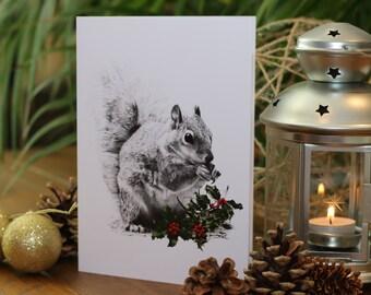 SQUIRREL DRAWING Christmas Card - Gemma Hayward Art