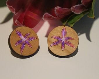 Australian Flower Earrings-Australian Wildflower Earrings-Wood Flower Earrings-Queen of Sheeba Orchid