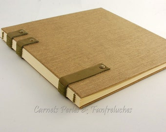 Guestbook, binding Coptic, sober and elegant, or travel for man, hinges leather diary