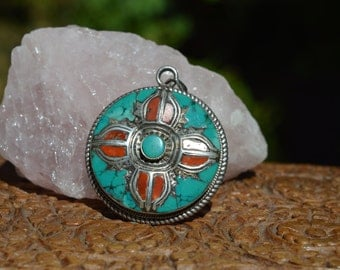 Tibetan Turquoise and Coral Pendant 925 sterling silver, Hand crafted, Mandala