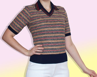 70s Navy Red and Mustard Striped Polo Shirt - Short Sleeves, V neck and Pointed Collar Sweater