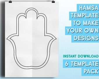 Hamsa Templates  to make Your Own Designs | 6 Beautiful Drawings - INSTANT DOWNLOAD - Hindu Style Template