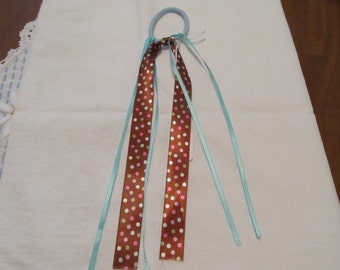 Polka Dot Ribbon Ponytail Holder, Hair Tie, Birthday Gift, Gifts for her, Gifts for girls, Hair Accessories, Hair tie