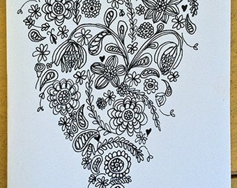 Handmade Flowering Heart love card