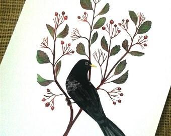 Blackbird Berrie twig - blackbird , watercolor print , print , art , botanical art , bird art , bird watercolor , 8 x 8 inch