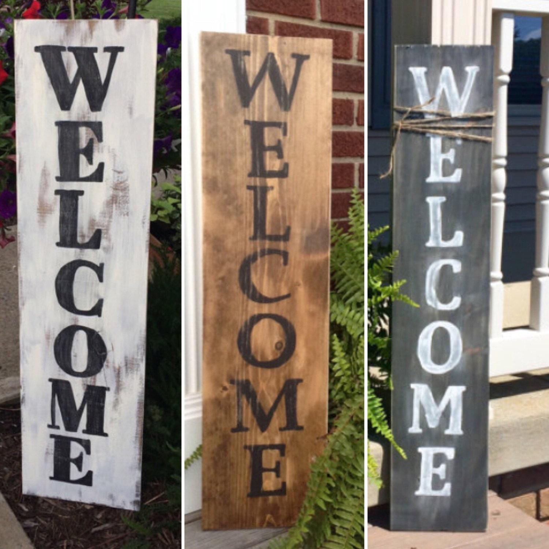 Wooden welcome sign 3ft front door sign welcome home - Wooden door signs for home ...
