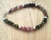 Tourmaline gemstone bracelet with sterling silver stardust beads, spiritual bracelet, chakra bracelet, meditation bracelet, positive energy
