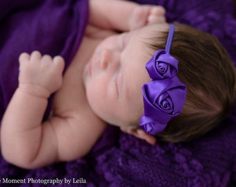 Baby headband - newborn headband -  purple headband - hair bands - skinny elastic headband - newborn photo prop - purple hair band -headband
