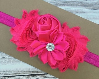 Baby flower headband - pink baby headband - girls headband - shabby chic headband - girls hair band - girls headband - baby hair band