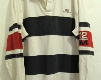 Marked Down 25@@A Men's Vintage 90's SPORTY Hip HOP era Nautical Rugby Shirt By GANT.L
