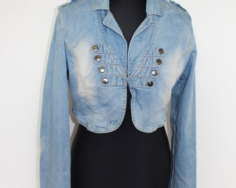 Deni Bolero Jacket Marching Band Blazer Washed Blue Double Breasted Women Bolero Metal Buttons Cropped Jacket MJ Jean Jacket Medium to Large