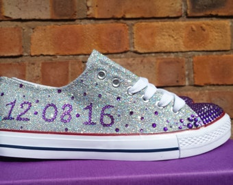 Wedding bridal converse style shoes. Choose glitter colour, custom personalised converse, bling converse glitter pumps silver purple wedding