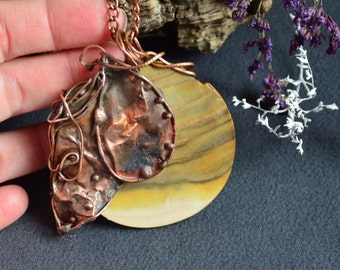 Copper Tree - staghorn sumac wood pendant handmade jewelry handmade pendant copper necklace gift for mum bridesmaid wedding gift