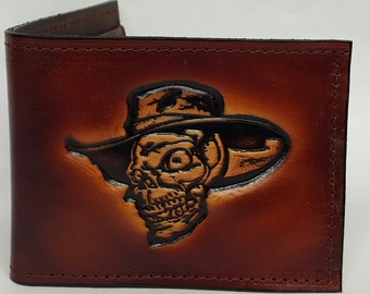 Skull with Hat Bifold or Trifold Leather Wallet B1806