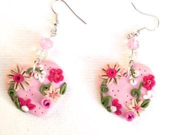 Earrings, flower heart