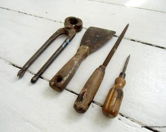 1940s vtg tools vintage scraper vintage file vintage pincers vintage stanley screwdriver vtg file collectible Tool rusty tools vtg G04/295