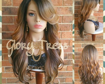 ON SALE // Celebrity Inspired Hairstyle, Black wig, Ombre Blonde Wig, Long Loose Curly Lace Front Wig // PERFECTION (Free Shipping)