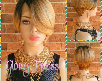 CLEARANCE // Celebrity Inspired Hairstyle, Short Lace Front Wig, Ombre Blonde Wig, Short Razor Cut Wig // DEVOTED