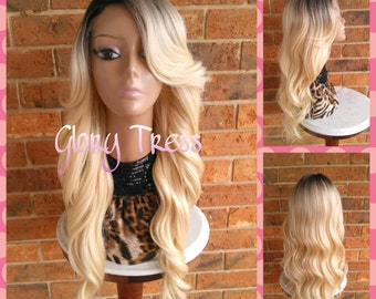 READY To SHIP // Long Curly/Wavy Lace Front Wig, Ombre Platinum Blonde Wig, Dark Rooted Bombshell Wig //GRACIOUS (Free Shipping)
