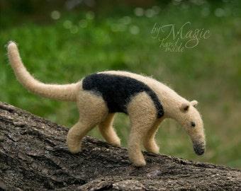Needle felted lesser anteater, wool animal, felt toy, needle felting, tamandua, soft sculpture, felting animals, exotic creature