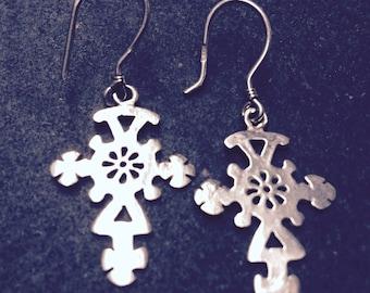 Coptic - Ethiopian Cross earrings - silver
