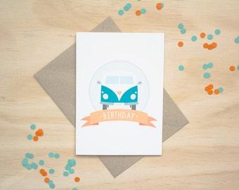Kombi Van Happy Birthday Greeting Card