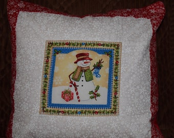 "Snowman Throw Pillow 14"" x 14"""