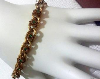 Vintage Florenza Green Rhinestone Flower Gold Bracelet