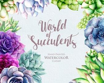 Watercolor Succulents Clipart. Hand painted, wedding diy elements. Plants printable instant download, wedding bouquet, invitations.