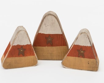 Fall Decoration-  Primitive Wooden Chunky Candy Corn- Set of 3- Model # -OHL-FALL16 - Free Shipping
