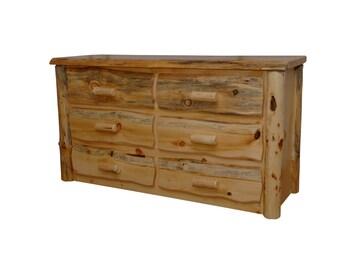 Rustic Pine Log Slab Live Edge 6 Drawer Dresser - 2 Finishes -  Custom - Handmade - Amish Made in USA