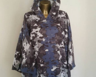 Mens Or Womans Fleece Poncho in Blue and Gray Camo With Hood & Front Pocket