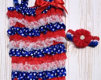 4th of July Rompers, Girl's Baby Lace Petti Rompers, Baby Girl Patriotic Romper, Red, White, &Blue Girl's Lace Romper, Patriotic  Romper
