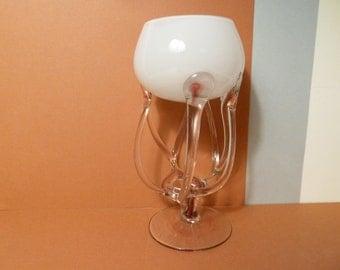 Vintage, Jozefina Krosno, Art Glass Sculpture, Octopus / Jellyfish Bowl