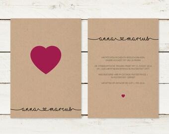 Wedding invitation | Kraft paper | Heart