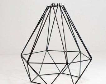 Vintage Industrial Diamond Wire Cage for Desk Side Lamp or Pendant Light - Black