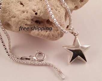Star pendant in 92.5 sterling silver