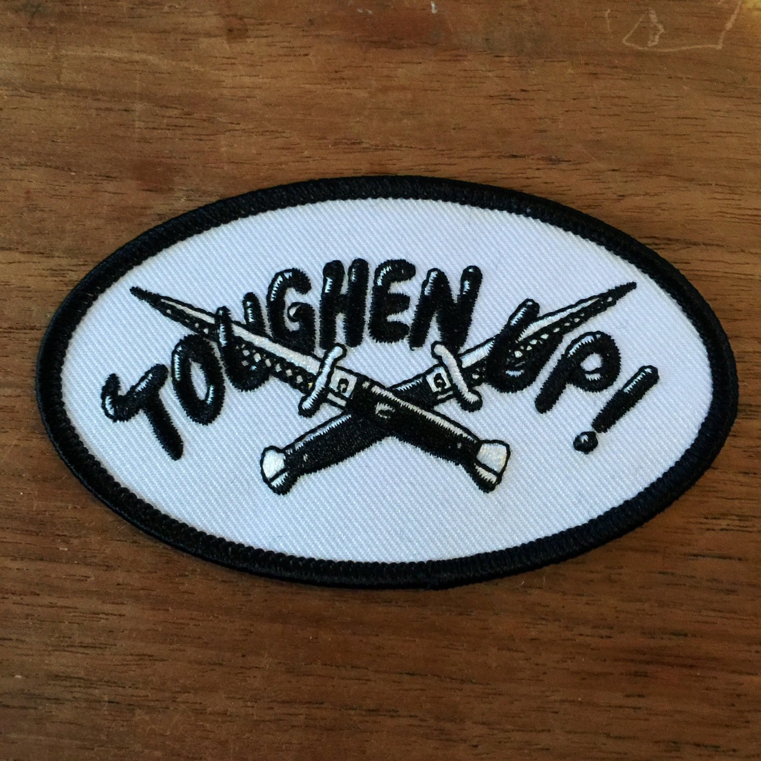 Toughen up embroidered patch by bruisedtongue on etsy