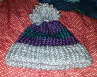 Warm winter Hat striped 3 colors for young woman