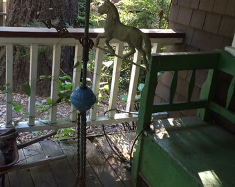 Rare Complete Antique Victorian Horse Weathervane American Folk Art with Glass Ball