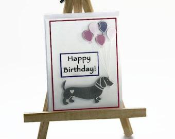 Weiner Dog Birthday Card for Her, Handmade Sausage Dog, Wiener Dog, Dachshund, Doxie with Balloons, Kids Birthday Card