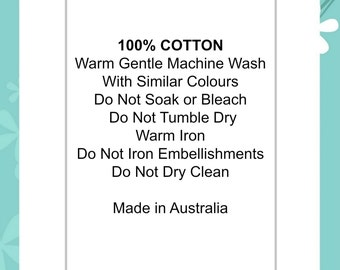 "100% Cotton Do Not Iron Embellishments - Do Not Dry Clean | Soft satin ribbon content care clothing labels garments  ""Made in Australia"""
