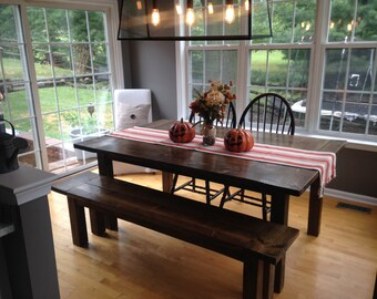 Custom Dark Walnut Farm House Table Up To 9' Length!!!