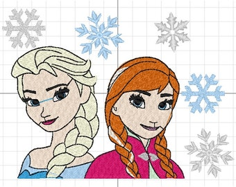 frozen and elsa machine embroidery